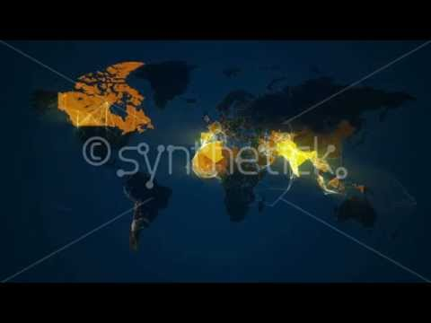 World map loop. Network of lines connect cities. Countries light up.