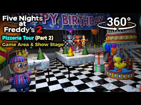 360°| Five Nights at Freddy's 2 Pizzeria Tour - Game Area and Show Stage [Part 1] (VR Compatible) thumbnail