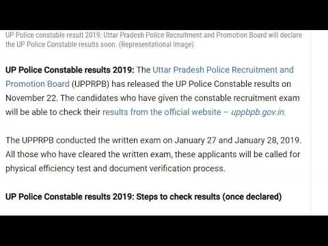 UPPRPB UP Police Constable Result 2019 declared, check ...