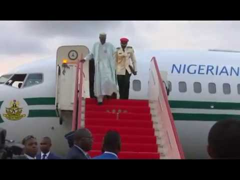 President Buhari Arrives Malabo international airport