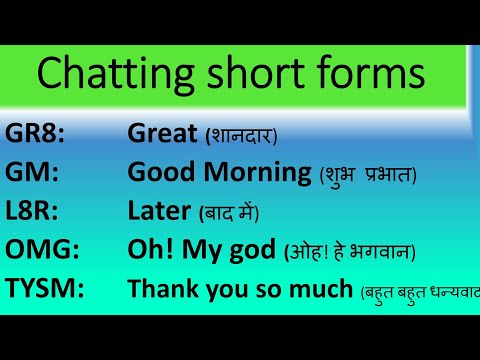Chatting Short Forms | Chatting Slang Words | Smile Please World
