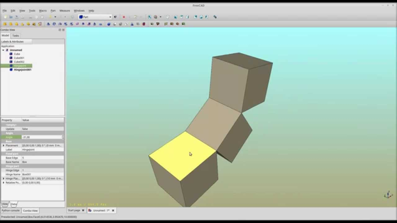 Freecad Simple Hinge Joint Youtube