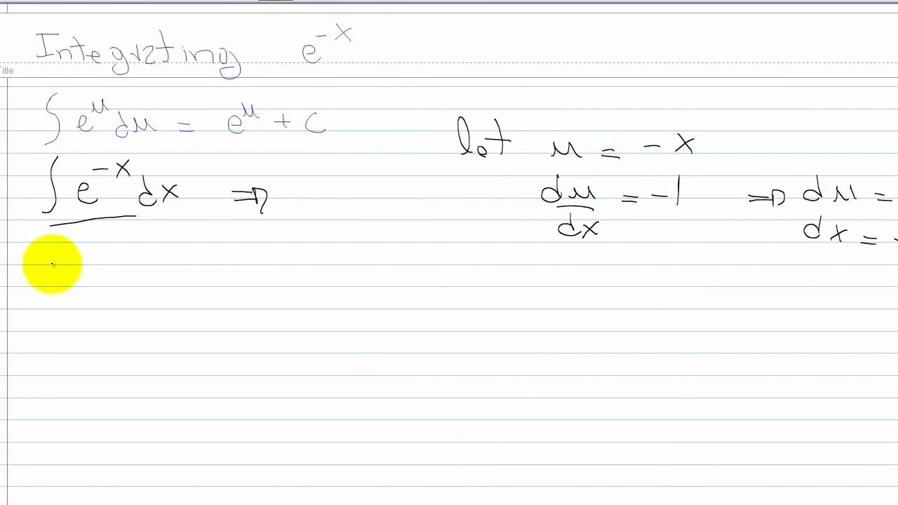 Exponential Integration of e^-x