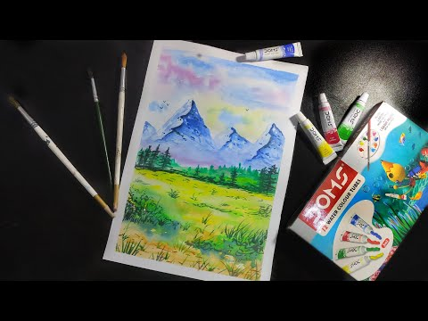 Easy Watercolour landscape painting for Beginners | Tips and Techniques of Watercolour Step by Step