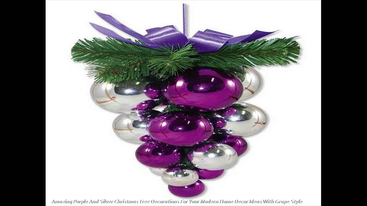 excellent purple and silver x mas tree decorations for your modern property decor great ideas