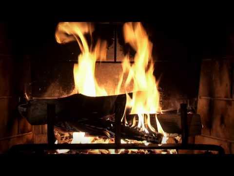 Beautiful Wood-burning Fireplace Yule Log Video