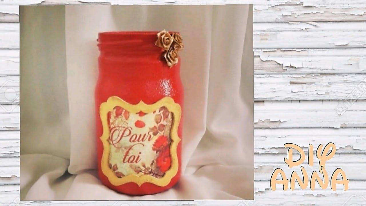 Decoupage Shabby Chic Jar Diy Ideas Decorations Craft Tutorial Uradi Sam Youtube