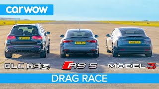 Tesla Model 3 vs Audi RS5 vs AMG GLC63: DRAG RACE *surprise result*!