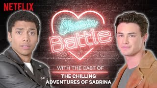 Chance Perdomo, Tati Gabrielle, and Gavin Leatherwood from the Chilling Adventures of Sabrina battle it out to see who is the most charming using cheesy pick ...