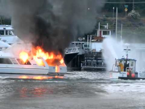 Fire Aboard large Yacht at Seattle Marina