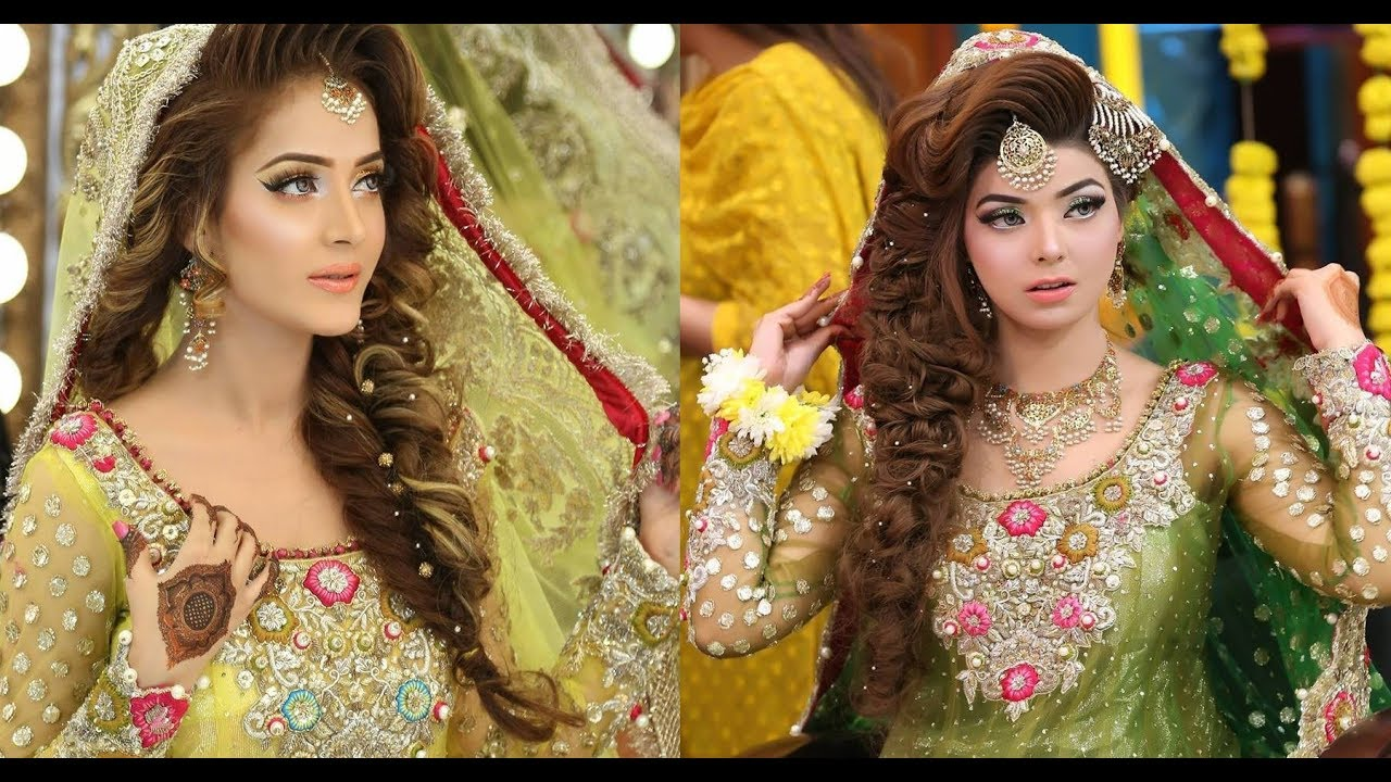 Mehndi Hairstyles S : Kashee s new look makeup and hair styles for bridal youtube