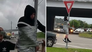 Download Teen Gets Duct-taped To Pole After Losing Bet To Friends Mp3 and Videos