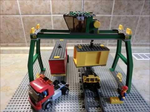 Lego 7939 Container Kran Grün Umbau Erweiterung City Blaue Schienen