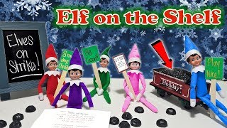 Purple & Pink Elf on the Shelf - Elves on Strike with Green Blue and Red Elves! Day 26