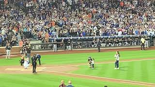 Wright's daughter throws out the first pitch