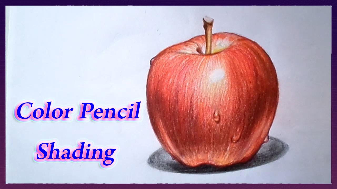 realistic color pencil drawing tutorial of apple youtube