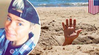 Wanita terkubur hidup-hidup ketika jatuh ke lubang pasir galian di pantai - TomoNews