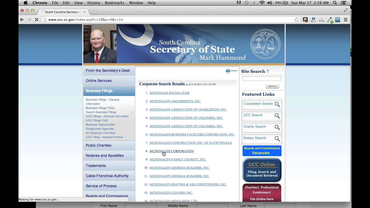 Business Name Search - S.C. Secretary of State