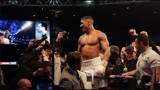 ANTHONY JOSHUA IMMEDIATELY AFTER 11TH ROUND TKO WIN OVER WLADIMIR KLITSCHKO @ WEMBLEY STADIUM