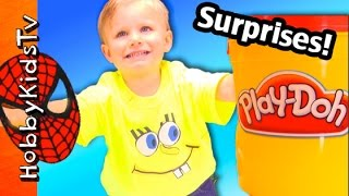 Surprise BUCKET! Play-Doh +Color BLANKS Hippo Draw by HobbyBaby! Lego Head SURPRISES by HobbyKidsTV