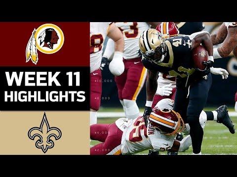 Redskins vs. Saints | NFL Week 11 Game Highlights