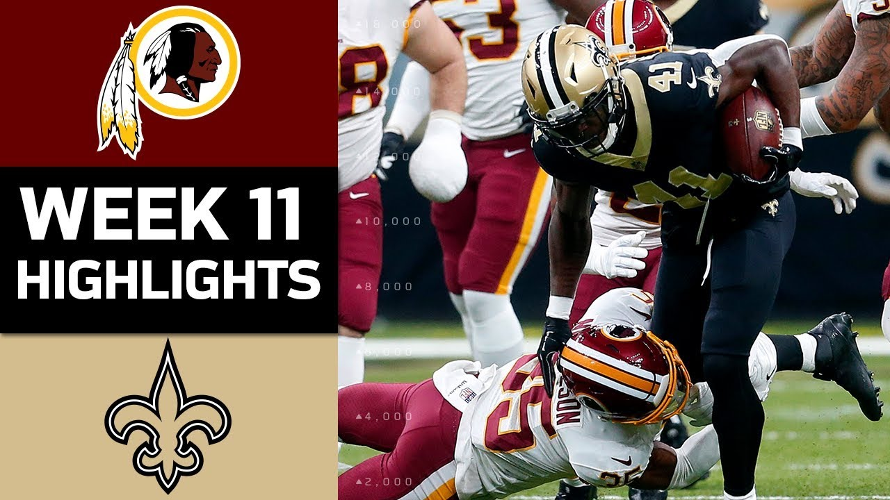 Redskins vs saints nfl week 11 game highlights youtube redskins vs saints nfl week 11 game highlights voltagebd Image collections
