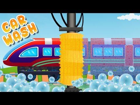 Train Car Wash | Train Engine Video For Kindergarten By Kids Channel
