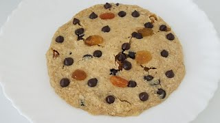 How To Make Oat Raisin Chocolate Chip Cookie/1 Min Microwave Giant Oat Raisin Chocolate Cookie.
