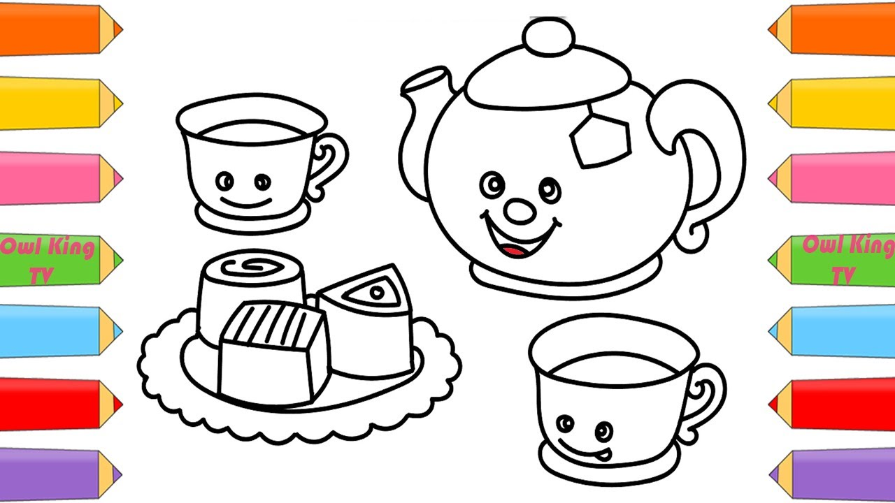 how to draw tea set chocolate finger family song coloring pages art colors for kidsowl king tv