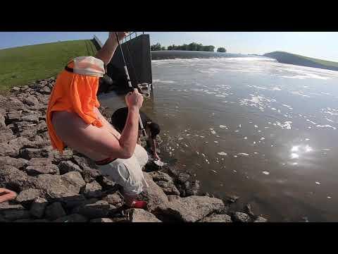 Fishing Elk City Reservoir Spillway - Independence, Kansas.    PART 1