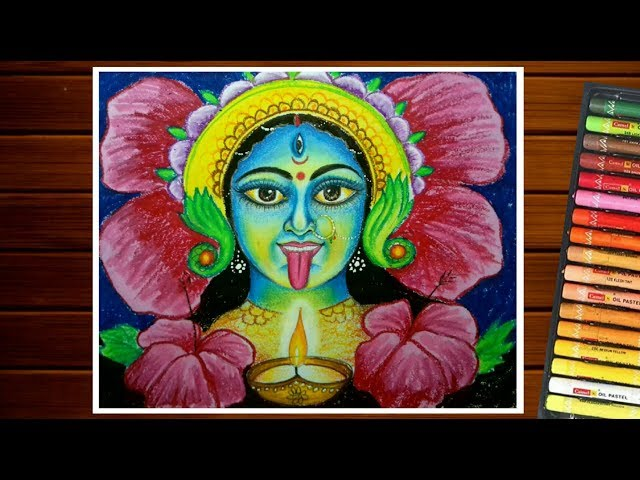 DIWALI DRAWING EASY   HOW TO DRAW MAA KALI FOR KIDS