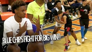 Bronny James Watches Blue Chips Jahzare Jackson & Gabe Cupps FIGHT TO WIN Game