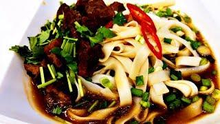 Китайская кухня.  Лапша в говяжьем бульоне 牛肉面 niúròu miàn