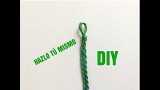 Como Hacer Pulsera Trenza de 4 con Hilo /DIY Bracelet