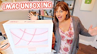 Pink M1 iMac Unboxing!! Upgraded Everything & all the Accessories!