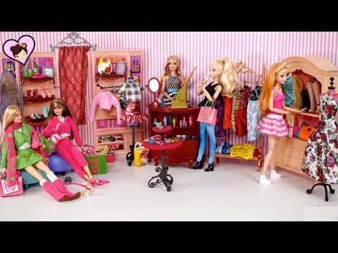 Barbie Elsa & Anna  Go Shopping To Doll Clothing Store - Barbie Boutique Accessory Shop
