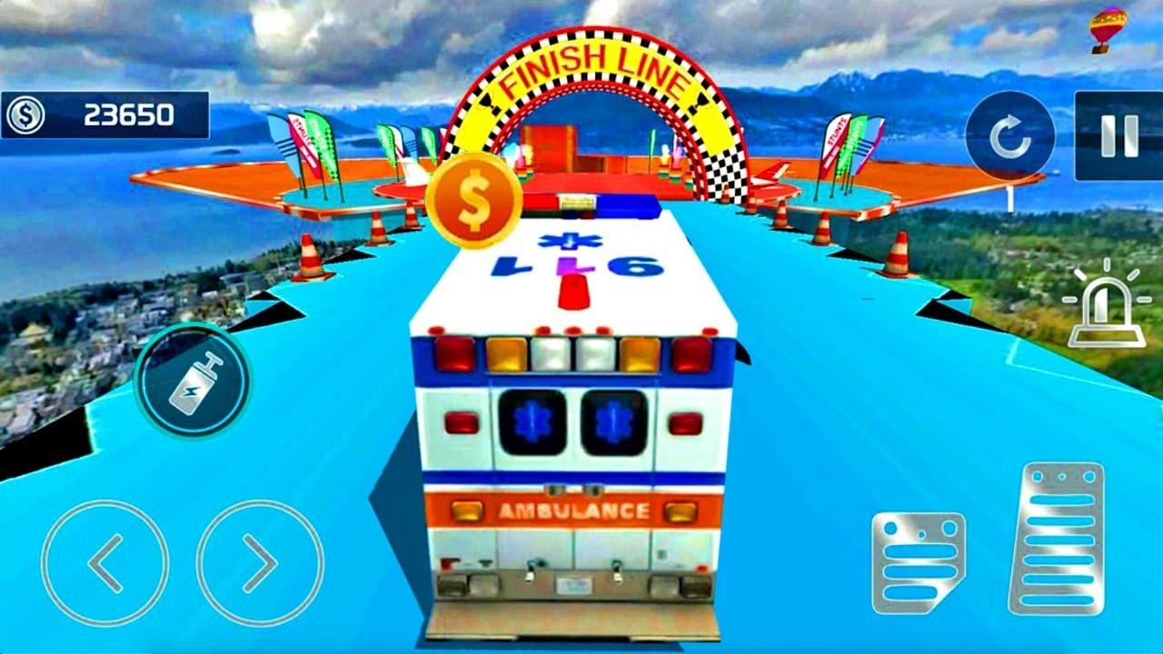 Juegos de Carros - Ambulancia Stunts Driving Mega - Juegos de Bomberos