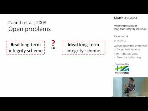 Matthias Geihs - Modeling security of long-term integrity solutions