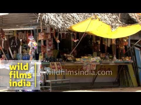 Shops selling religious articles in Kanchipuram, Tamil Nadu