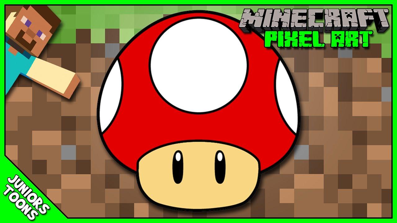 Minecraft Pixel Art Mushroom From Super Mario Bros Speed Art