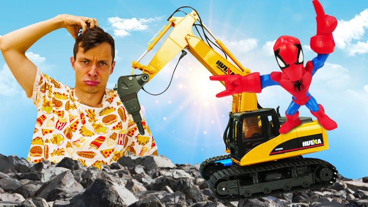 Новые игры онлайн - Человек Паук и Большие Машины строят дорогу! - Игры для мальчиков супергерои