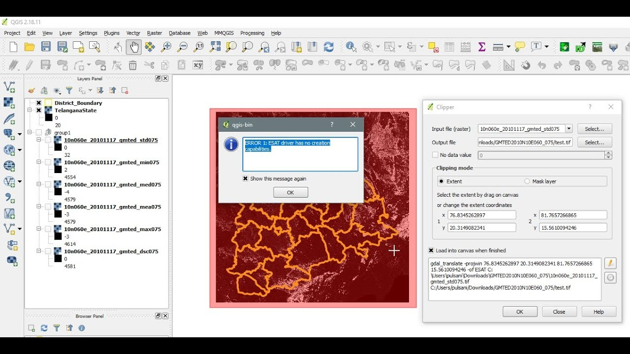 QGIS - Clip Error - ERROR 1: ESAT driver has no creation capabilities