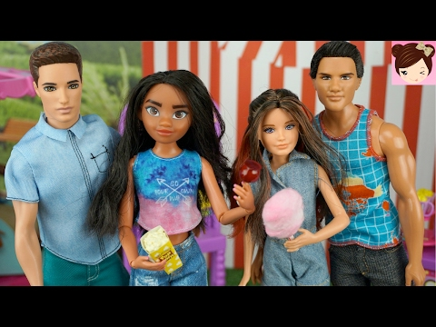 Disney Moana and Skipper Go on a Double Date at Barbies Carnival Fair - Amusement Park Playset