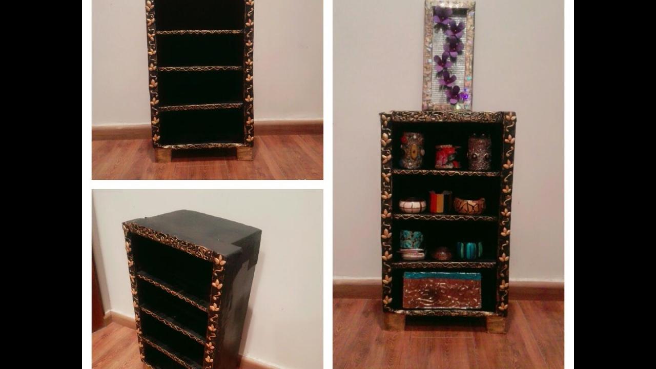 Diy cardboard furniture - How To Make Cardboard Shelf Diycartonfurniture Diy Makeup Jewellery Shelf Estante De Cart N