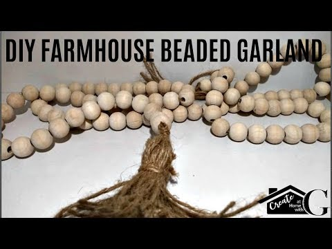 🍂FARMHOUSE WOOD||WOODEN BEAD||BEADED GARLAND DIY