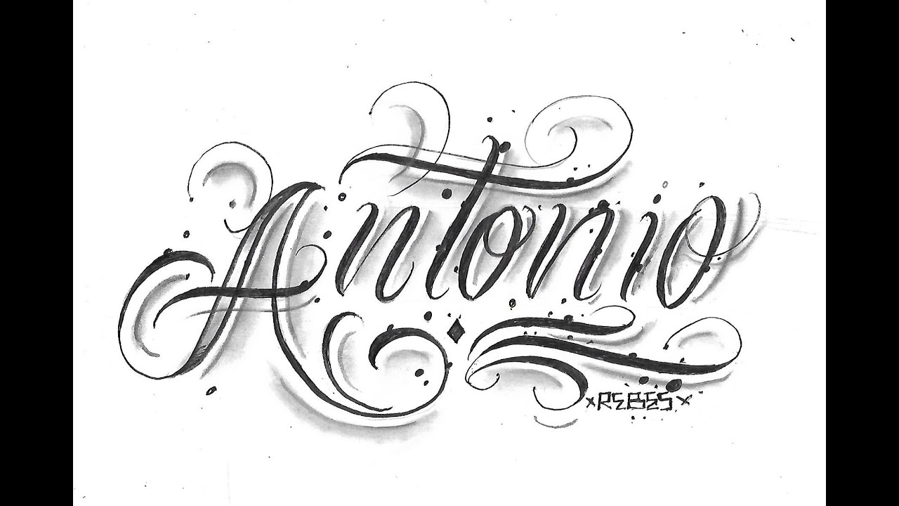 Como Hacer Un Diseño Para Tatuaje diseño de letras para tatuar antonio /dibujando chicano lettering/ drawing  chicano leterring
