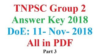 TNPSC Group 2 Exam Answer Key 2018 General Studies Questions 101 to 200