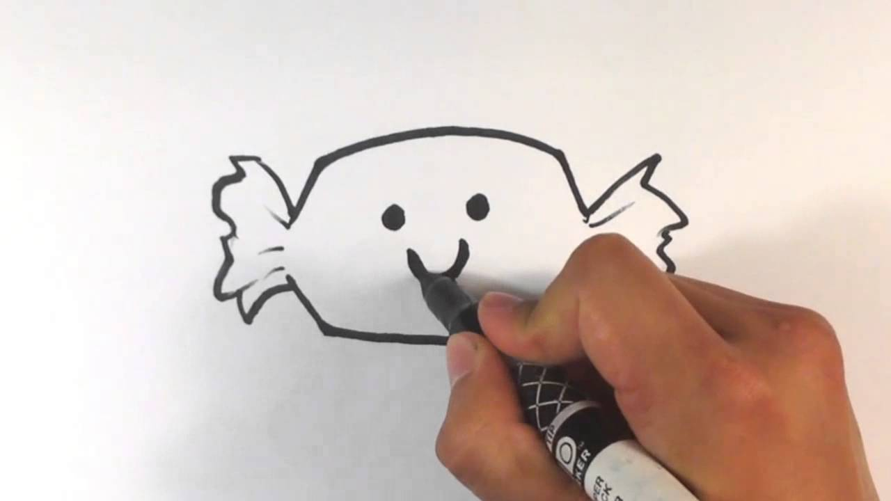 How to Draw a Cute Candy Treat - Halloween Drawings - YouTube