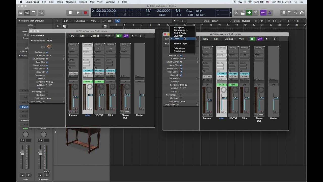 Logic Pro X - 2 MIDI клавиатуры на разные синтезаторы