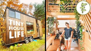 Couple Living in a Beautiful Plant-Filled 25' Long Tiny House - FULL TOUR